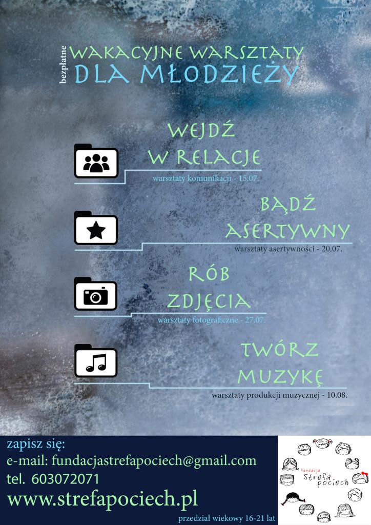 plakat wakacyjne warsztaty FSP